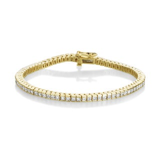 Summer Rose 14k Yellow Gold 4ct TDW Princess-cut Diamond Tennis Bracelet (H-I, SI1-Si2)