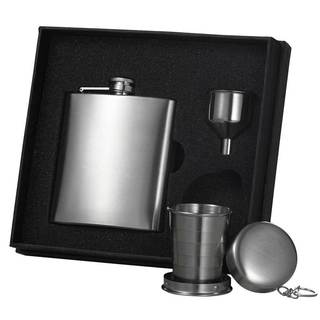 Visol Stainless Steel Liquor Flask, Funnel and Shot Cup Gift Set