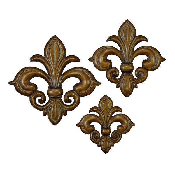 Bronze Metal Fleur-de-lis Wall Decor (Set of 3)