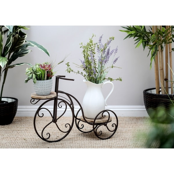 Eclectic 19 x 25 Inch Vintage Bicycle Plant Stand by Studio 350. Opens flyout.