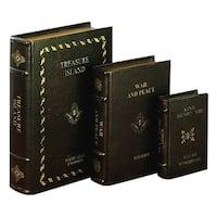 Copper Grove Chatfield Classic Dark Brown Decorative Wood Book Box (Set of 3)