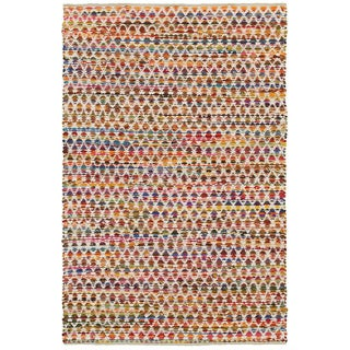 Hand-woven Chindi Accent Harlequin White Multi-colored Rug (2'6 X 4')