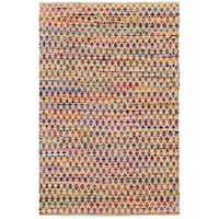 Hand-woven Chindi Accent Harlequin White Multi-colored Rug (1'9 X 2'10)
