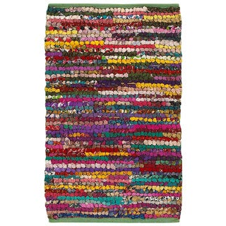 Hand-woven Chindi Accent Motley Multi-colored Rug (2' X 3')