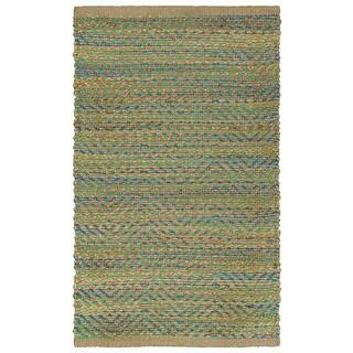 Hand-woven Jute/ Chenille Accent Green/Navy Rug (1'9 X 2'10)