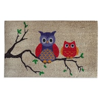 A1HC -FIRST IMPRESSION Owl Tufted Bleached Coir Doormat