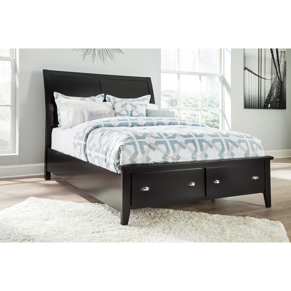 Signature Design By Ashley Brafllin Black Storage Panel Bed