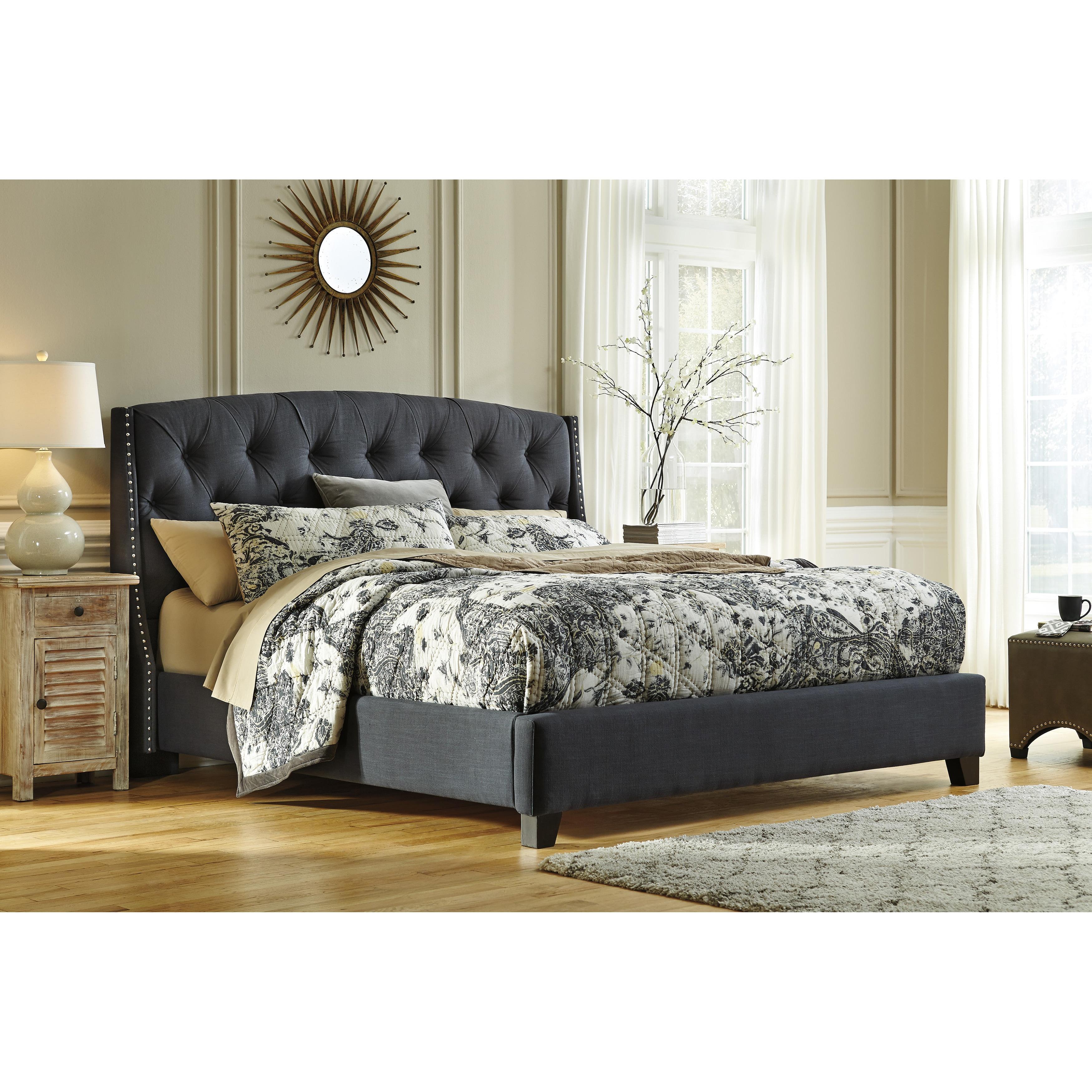 Ashley Kisidon Grey Upholstered Bed (King)