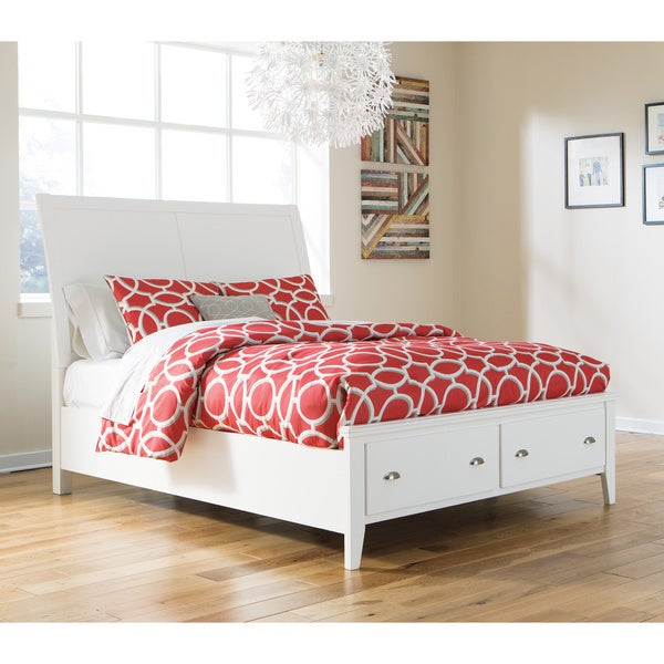 Signature Design by Ashley Langlor White Storage Panel Bed ...