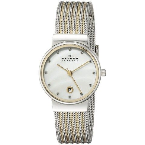 """Skagen Women's 355SSGS """"Ancher"""" Stainless Steel Two-Tone Silvertone and Gold Watch"""