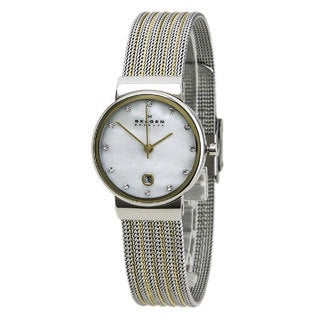 "Skagen Women's 355SSGS ""Ancher"" Stainless Steel Two-Tone Silvertone and Gold Watch"