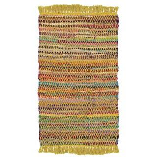 Hand-woven Jute/ Chenille Accent Dracut Yellow Rug (1'9 X 2'10)