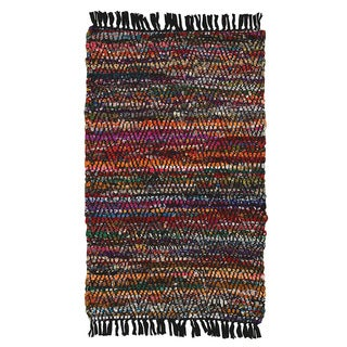 Hand-woven Jute/ Chenille Accent Coulti Rug (1'9 X 2'10)