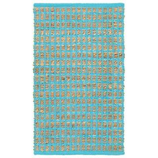 Hand-woven Jute/ Chenille Accent Kiana Blue Rug (2'6 X 4')
