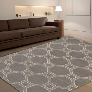 Hand-tufted Viscose/ Wool Luxor Gray Rug (5' X 7'9)