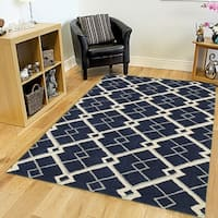 LR Home Hand-tufted Luxor Navy Wool and Viscose Rug - 8' x 10'