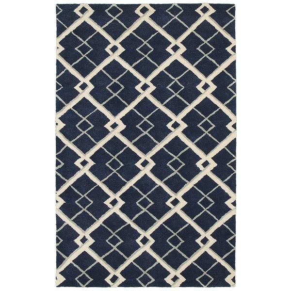 Hand-tufted Viscose/ Wool Luxor Navy Rug (5' X 7'9)
