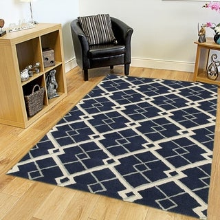 Hand-tufted Viscose/ Wool Luxor Navy Rug (5' X 7'9)