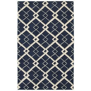 Hand-tufted Viscose/ Wool Luxor Navy Rug (3'6 X 5'6)
