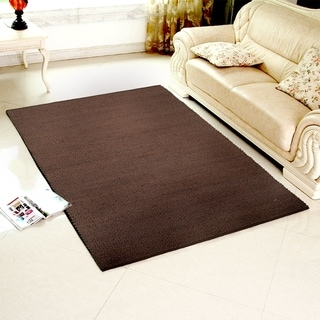Hand-crafted Jute Elite Natural Espresso Rug (5' X 7'9)