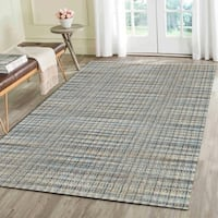 Hand-woven Jute/ Chenille Natural Navy Rug (8' X 10')
