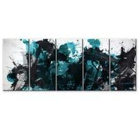 Ready2HangArt 'Inkd XLII' 5-piece Canvas Art Set - Black/Grey/TEAL