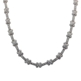 Sterling Silver Cubic Zirconia X-Link Necklace