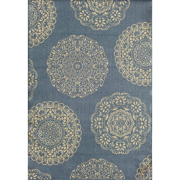 Shop Somette Tributary Fantasia Blue And Ivory Indoor Outdoor Rug