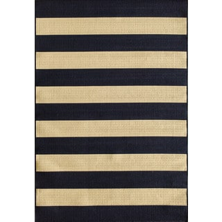Somette Tributary Awning Stripe navy and ivory Indoor/ Outdoor Rug (7'10 x 9'10)