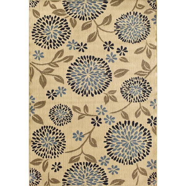 Shop Somette Tributary Chrysanthemum Ivory And Navy Indoor Outdoor