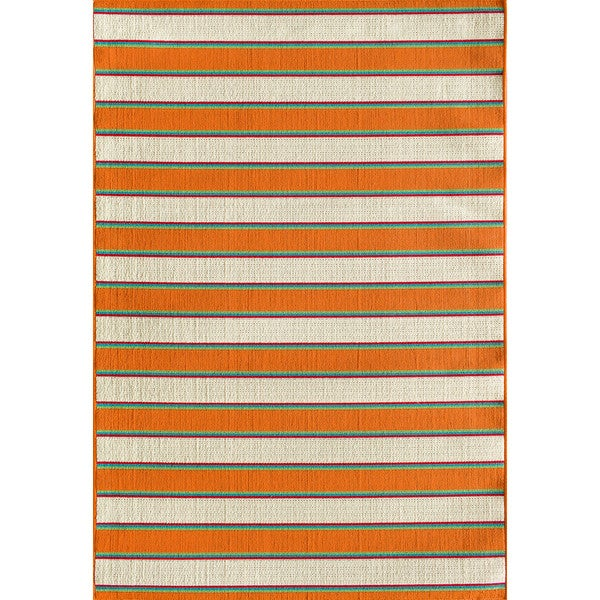 Shop Somette Tributary Crosby Stripe Snow And Orange Indoor Outdoor
