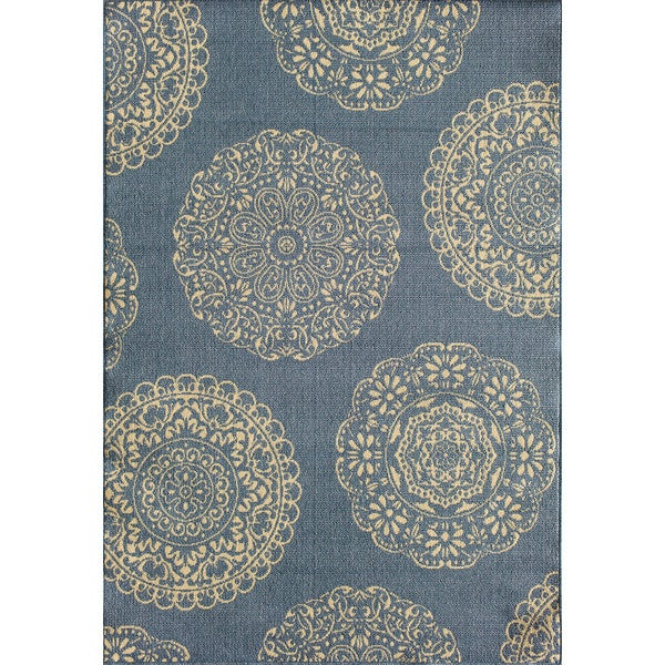 Shop Somette Tributary Fantasia Blue And Ivory Indoor