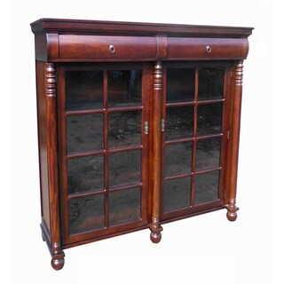 Handmade D-Art Dark Brown Mahogany Traditional Display Bookcase (Indonesia)