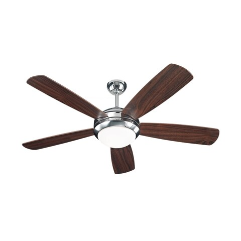 Monte Carlo Discus Polished Nickel 52-inch Ceiling Fan - Brown