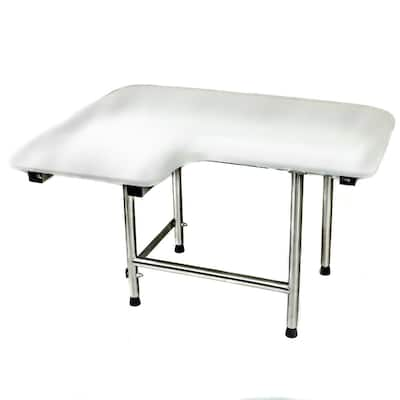 CSI Bathware 34 in W x 21 in D L-Shape Padded Shower Seat with Swing Down Legs - White