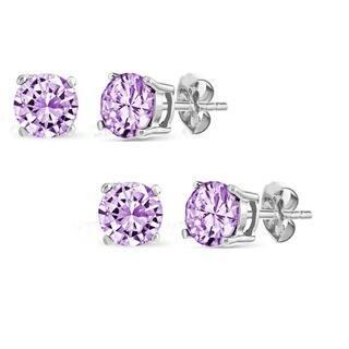 Pori Set of 2 Pairs Sterling Silver 2ct Genuine Amethyst Stud Earrings|https://ak1.ostkcdn.com/images/products/10024297/P17170494.jpg?impolicy=medium