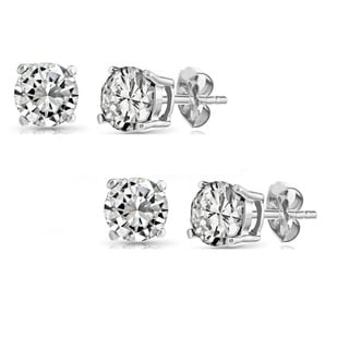 Pori Set of 2 Pairs Sterling Silver 2ct Genuine White Topaz Stud Earrings