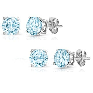 Pori Set of Sterling Silver Blue Cubic Zirconia Stud Earrings