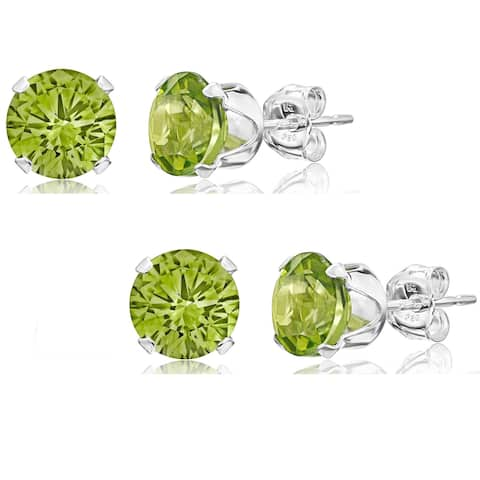 Pori Set of 2 Pairs Sterling Silver 2ct Genuine Peridot Stud Earrings - Green