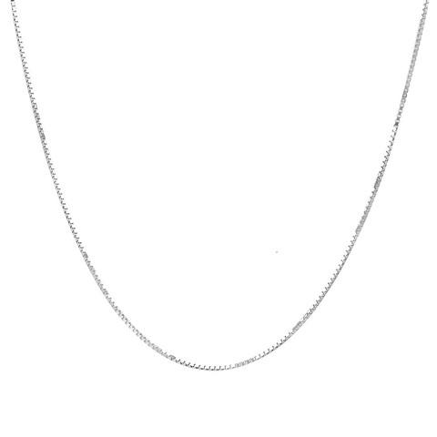 Pori Italian Sterling Silver Box Chain Necklace - White
