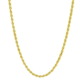 Pori Italian 14k Goldplated Sterling Silver Rope Chain Necklace (Option: 30 Inch)