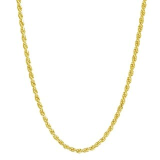 Pori Italian Goldplated Sterling Silver Rope Chain Necklace (5 options available)