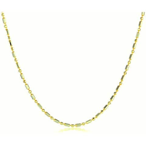 Pori Italian 14k Goldplated Sterling Silver Bead 1+1 Chain Necklace