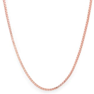 Pori Italian 14k Rose Goldplated Sterling Silver Box Chain Necklace (Option: 16 Inch)|https://ak1.ostkcdn.com/images/products/10024380/P17170565.jpg?impolicy=medium