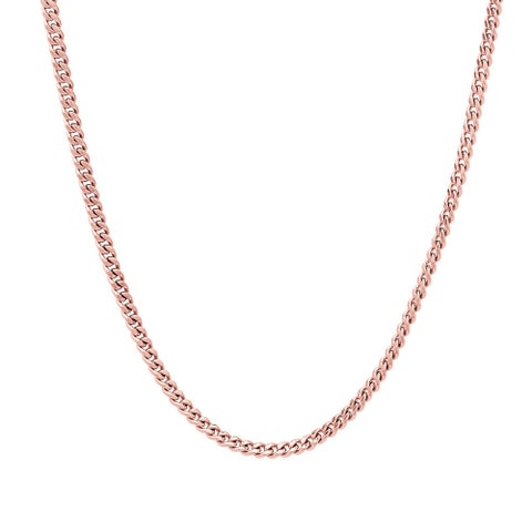 Pori Italian Rose Goldplated Sterling Silver Curb Chain Necklace