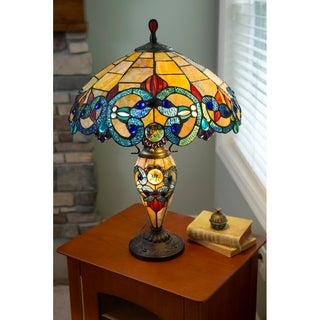 River of Goods 26-inch Tiffany Style Stained Glass Victorian Double Lit Table Lamp