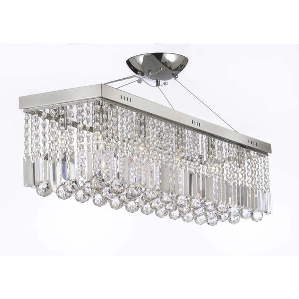 Contemporary 10 Light Crystal Modern Linear Chandelier Pendant Fixture