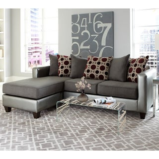 2piece pewter bicast microfiber reversible sectional