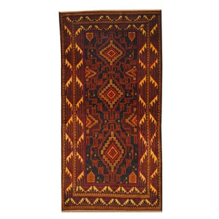 Herat Oriental Afghan Hand-knotted Semi-antique Tribal Balouchi Red/ Gold Wool Rug (3'8 x 7'4)