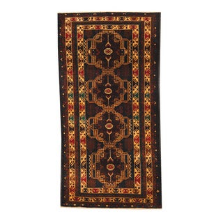 Herat Oriental Afghan Hand-knotted Semi-antique Tribal Balouchi Black/ Brown Wool Rug (3'6 x 6'9)